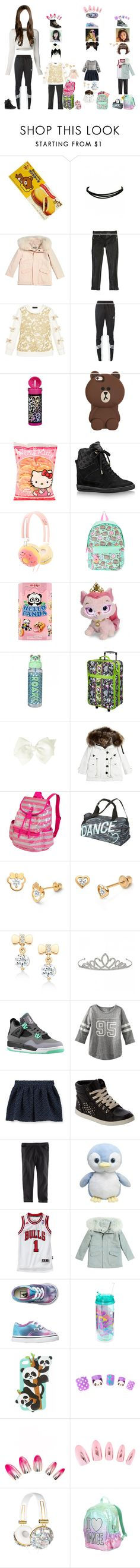 """Kaeligh dropping the girls off"" by kaelighoffical ❤ liked on Polyvore featuring Yves Salomon, Roberto Cavalli, Kate Mack, adidas Originals, Hello Kitty, Louis Vuitton, claire's, Pusheen, Disney and Miss Grant"