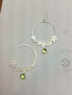 Flower and leaf earrings. In progress. By Diana Greenwood