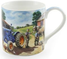 TRACTOR BLUE~MUG~FARM~COUNTRYSIDE~HORSE~FARMER~BARN~CHINA~GIFT BOXED~FREE  PP UK