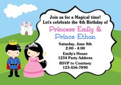 Princess and Prince Invitation for Siblings Birthday by jcsaccents