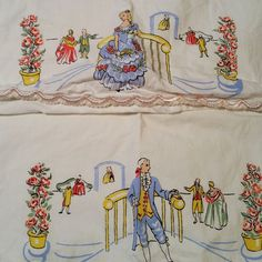 A pair of standard pillowcases featuring a printed/transfer Victorian man and woman. They have light pink embroidered edges. Slight discoloration, need a soak. Smoke free, but pet friendly home. | eBay!