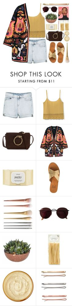 """""""The lessons i've learned"""" by fyenksfiona ❤ liked on Polyvore featuring MANGO, H&M, philosophy, Ray-Ban, Dunn, Williams-Sonoma, Caudalíe, Madewell, jeanshorts and denimshorts"""
