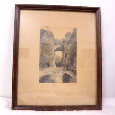 Vintage Natural Bridge Of VA Hal Burrowes Hand Tinted Framed Photo Early 1900's
