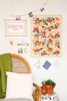Use washi tape to hang dorm wall art