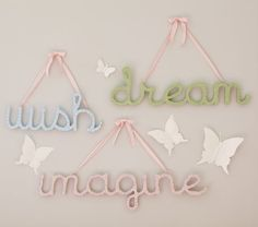 Encourage big dreams and happy thoughts with these large wooden words. Printed Word Decor $16.99 from pottery barn