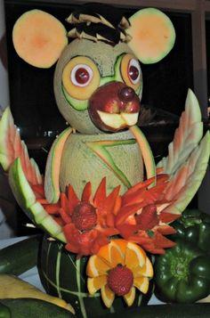 Fruit & Vegetable Animal Creation #fruit animal  #centerpiece #fruit centerpiece   www.grandparentsplus.com