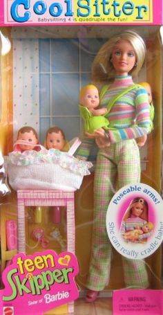 cool sitter teen skipper with quadruplets ☆ mattel- my sister had this!