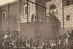 Outside the debtor's door of Newgate Prison in London, opposite the Old Bailey, the hangman plies his trade with another client. Historical Fiction Authors, Victorian Angels, Victorian London, Vintage London, Colonial Williamsburg, Regency Era, Old London, British History, Middle Ages