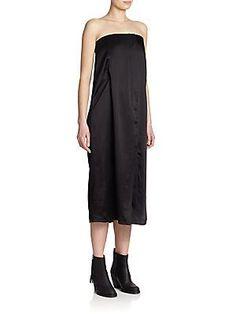 Acne Studios Berry Tech Satin Bustier Dress - Black - Size
