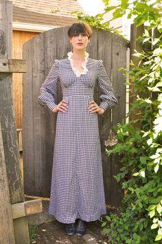Vintage 1970s Dress Gingham Blue Checkered Maxi Country Prairie Boho Hippie Maiden. $75.00, via Etsy.