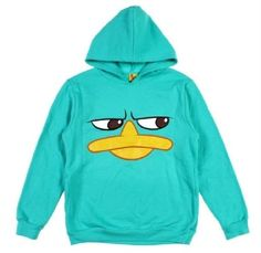 Phineas and Ferb PERRY Face Sweatshirt HOODIE Jacket Boy's 10/12 NeW Large NWT #Disney #Everyday