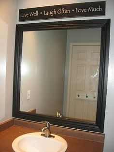 Framed Mirror | Blue Cricket Design. Framing a plain mirror - looks pretty simple and rally makes a difference.