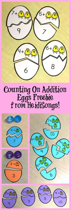 Kids to Count On in Addition- Freebie! Counting On Addition Eggs Freebie From HeidiSongs!Counting On Addition Eggs Freebie From HeidiSongs! Kindergarten Centers, Math Centers, Math Addition, Teaching Addition, Grande Section, Math Workshop, Homeschool Math, Math Stations, First Grade Math