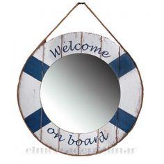 Welcome on Board Tükör - Vivre. Anchor Bathroom, Ships Clock, Welcome On Board, Shops, Nautical Gifts, Wooden Ship, Window Dressings, Coastal Homes, Beach Themes