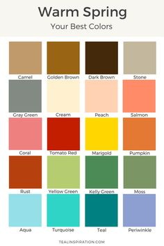 44 ideas for skin color palette warm spring Bright Spring, Warm Spring, Warm Autumn, Clear Spring, Spring Color Palette, Spring Colors, Light Spring Palette, Color Palettes, Color Type