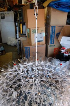 Carl's Giant NYE Ball has intricate support system. There are over 300 cups and 700 lights. Boro, Nye, Cups, Christmas Decorations, Gift Wrapping, Display, Lights, Easy, How To Make