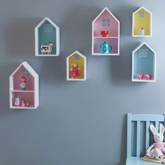 Wall Shelves, Pastels Display treasured toys and memorabilia on these lovely wall shelves!Display treasured toys and memorabilia on these lovely wall shelves! Kids Wall Shelves, House Shelves, Wall Shelves Design, Room Shelves, Craft Shelves, House Wall, Baby Furniture, Children Furniture, Design Seeds