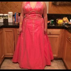Ball/Prom Dress Only worn once for a few hours. Like brand new, great condition! Clasps up around the neck on the back side. Cassandra Stone Dresses