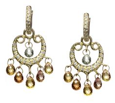 18k gold and diamond multicolor sapphire earring by Erica Courtney®