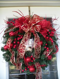 Red and Gold Christmas Wreath Christmas by KathysWreathShop, $79.95