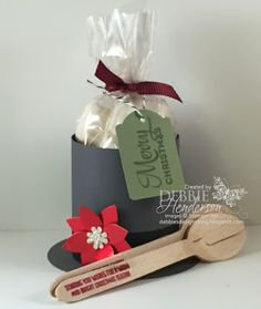 Stampin' Up! Merry Everything & Festive Fireplace. Top Hat Treat Holders & stamped wooden spoons. Tutorial included. Debbie Henderson, Debbie's Designs