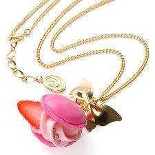 Q-pot Strawberry Macaron Necklace