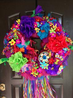 Fiesta wreath pink deco mesh by DazzlemeWreaths on Etsy, $145.00
