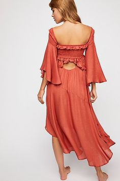 5b30d81c4bbb Florence Midi Dress in Burnt Red   Free People Ruffle Trim, Ruffles,  Bridesmaid Dresses