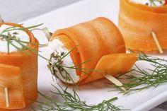 Rollitos de zanahoria rellenos de queso