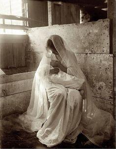 "The Manger, by Gertrude Käsebier (American, 1852-1934) 1899. Platinum print, 12 13/16 x 9 5/8"" (32.5 x 24.4 cm)."