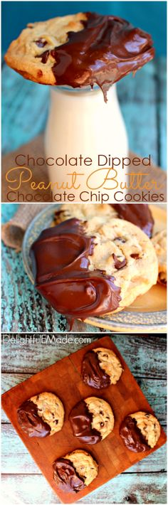 If you like chocolate and peanut butter, you'll LOVE these cookies!  Peanut butter chocolate chip cookies dipped in chocolate make for the perfect cookie!
