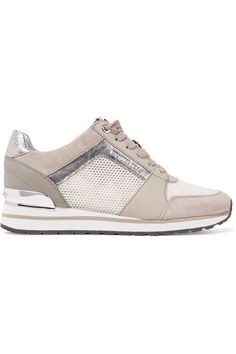 MICHAEL Michael Kors - Billie Leather And Suede-trimmed Mesh Sneakers - Beige - US9.5