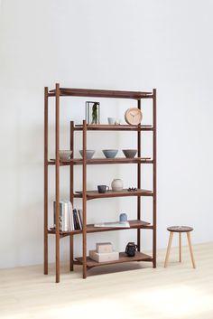 Y50 shelf in walnut by Lo Lat