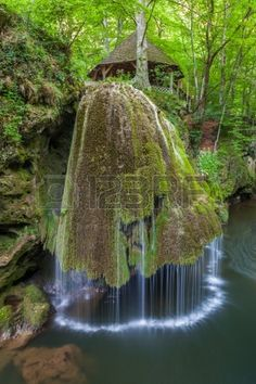 Waterfall Bigar. Located at the intersection with the parallel 45 in Romania.  photo