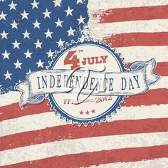 iCLIPART - Independence day retro styled label on stars and stripes background. Vector, EPS10