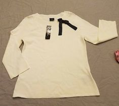 Brand New Tribal L large women long sleeve sweater white cute bow dressy NWT $50