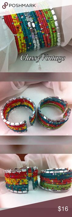 Beautiful bright boho bracelets Set of two boho seed beed  bracelets. These are beaded on wire and very wide. 1 1/4 inch wide each. Glass bead except the silver  ones, they are acrylic. boutique Jewelry