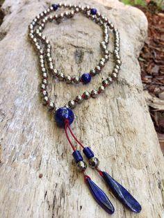 Beautiful Pyrite and Lapis Buddhist Mala Mantra Meditation Beads  on Etsy, $58.00