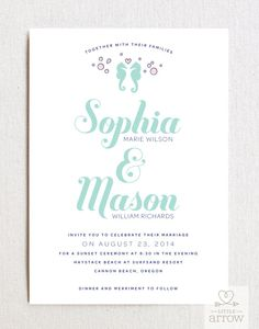 Seahorses Wedding Invitation & RSVP Card Set  by LittleArrowStudio, $174.00