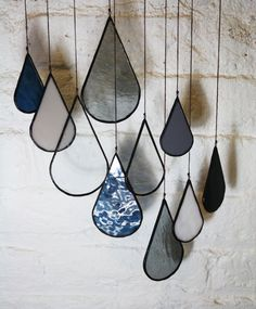 Stained Glass Elements: Raindrops set of 10 by BespokeGlassTile