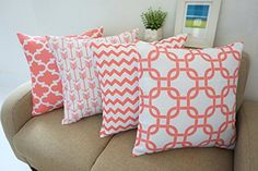 Howarmer Canvas Cotton Light Coral Red Color Decorative Throw Pillow Cover Set of 4 Accent Pattern - Arrow Pattern, Quatrefoil, Trellis, Chevron Accent 18x18-inch Howarmer http://www.amazon.com/dp/B00XENF5QE/ref=cm_sw_r_pi_dp_b-pmwb170DCW0