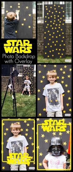 Star Wars Birthday Party Photo Backdrop with Free Photo Overlay. So many great Star Wars birthday party ideas at this site! Great for star wars fans - star wars The Force Awakens - free printables and decorating ideas for parties - Rogue One Star Wars Baby, Bd Star Wars, Tema Star Wars, Girls Star Wars Party, Star Wars Kids, 6th Birthday Parties, Birthday Diy, Birthday Ideas, Girl Birthday