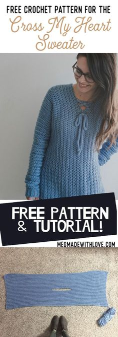 Crochet Patterns Sweaters Free Crochet Pattern for the Cross My Heart Sweater - Megmade with Love Free Form Crochet, Mode Crochet, Crochet Gratis, Easy Crochet, Crochet Tops, Crochet Jumper Free Pattern, Dress Patterns, Crochet Geek, Captain Hook