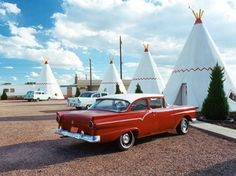 """The old """"Wigwam Motel"""" in Holbrook is part of a series of motels that used wigwams as rooms; the one in Holbrook was built in 1950. Others still exist, in San Bernardino, California and Cave City, Kentucky"""