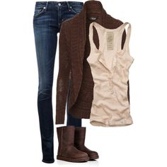 """""""Brown and beige"""" by woolycat on Polyvore"""