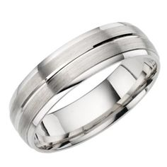 Male Wedding Band 18ct White Gold Brushed And Polished Court Ring Ernest Jones