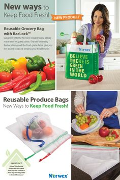 Available October 2015: Go green with the Norwex reusable carry-all bag made with recycled plastic.  It's the right size for a trip to the grocery store and strong enough to hold all your fruits, vegetables and other food staples.  The self-cleansing BacLock lining and the food-grade fabric give you the added bonus of keeping your food fresher between the store and home.