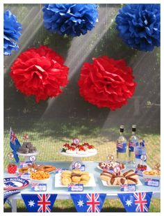 Australia Day Themed Party - Change the flags out and it looks like a Fourth of July Party. ;D