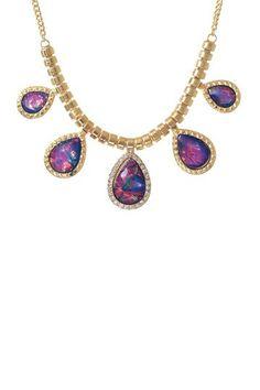 5 Teardrop Opal Set Sapphire Necklace on HauteLook