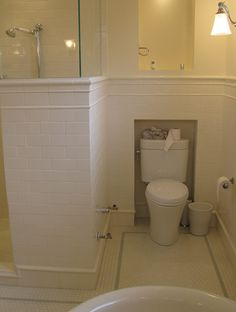 Like how the toilet goes into the wall here with a shelf above it and the shower beside it.